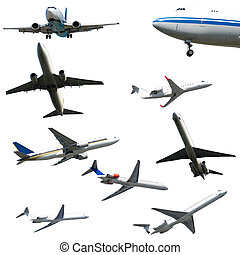 Collection with many planes on a clean white background. ...