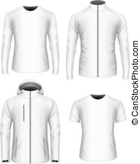 collection., witte , vector, mens, kleren