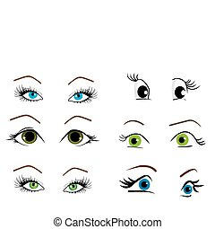collection, yeux, vecteur, illustration, femme