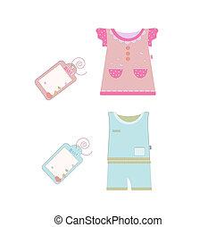 collection., zbiór, wektor, niemowlę, dzieci, odzież