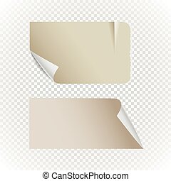 Collectionn of vintage paper isolated on transparent background