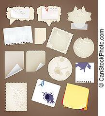 collectionn, papier, feuilles, vendange