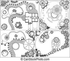 Vector Collections od Landscape Plan with treetop symbols black and white