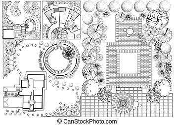 Collections od Landscape Plans - Vector Collections od ...