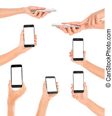 Collections of Business hand with mobile phone .