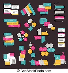 Collections of info graphics flat design diagrams. Various color schemes, boxes, speech bubbles.