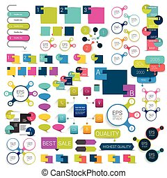 Collections of info graphics flat design diagrams. Various color schemes, boxes, speech bubbles for print or web design.