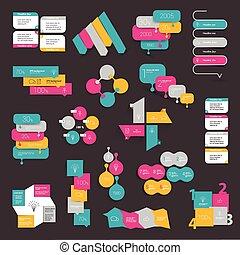 Collections of info graphics flat design diagrams. Various color schemes, boxes, speech bubbles.