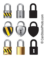 collections of locks over white background vector...