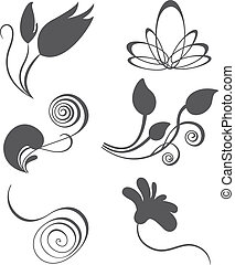 Collections of vector vintage floral design elements