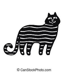 collections., silhouette, noir, rigolote, chats, dessin animé, style., set.