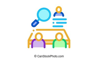 collective interview Icon Animation. color collective interview animated icon on white background