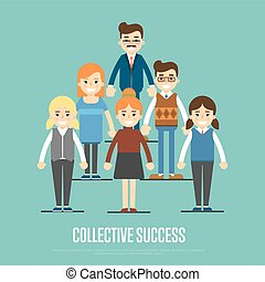 Collective success banner with business peole