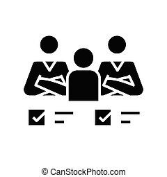Collective tasks black icon, concept illustration, vector flat symbol, glyph sign.