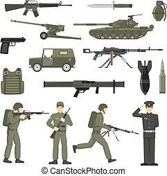 collecton, 卡其布, 軍隊, 顏色, 圖象, 軍事
