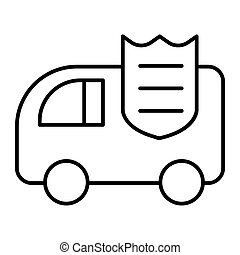 Collector car thin line icon. Bank car vector illustration isolated on white. Finance transportation outline style design, designed for web and app. Eps 10.