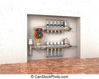 Collector, manifold, heating system for underfloor heating in the wall. 3d illustration