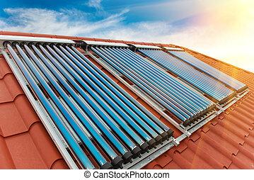 collectors-, システム, 加熱, 水, 太陽, 真空