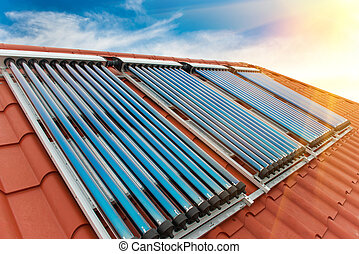 collectors-, sistema, calefacción, agua, solar, vacío