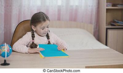 collects, peu, papier, girl, coloré