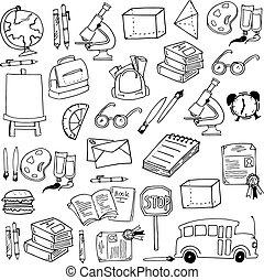 colleection, escuela, educación, doodles