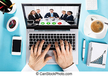 collega, conferenza, ciarlare, lei, video, uomo affari