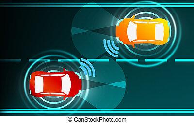 collega, fra, veicolo, comunicazione