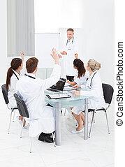 collega, risposta, riunione, dottori