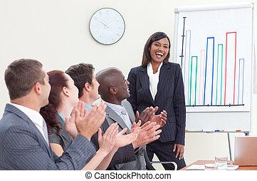 collega, zakelijk, haar, mensen, applauding, vergadering