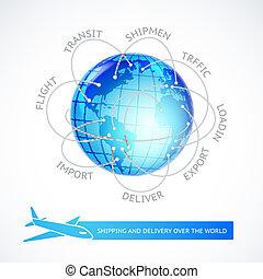 collegamenti, aeroplano, world., sopra