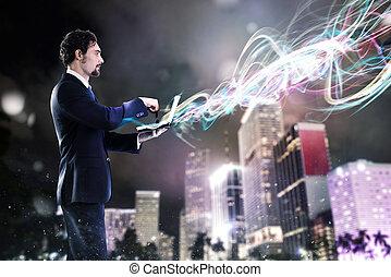 collegamenti, nuovo, laptop, lavorativo, uomo affari