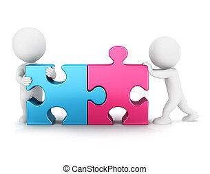 collegamento, 3d, puzzle, bianco, persone