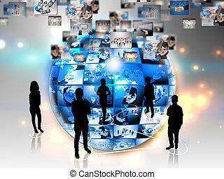 collegamento, affari globali