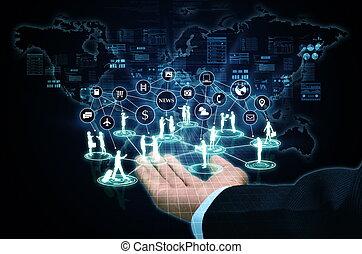 collegamento, affari, internet