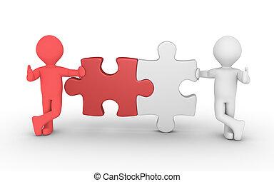 collegamento, concetto, puzzle, due