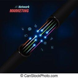 collegamento, fibra ottica