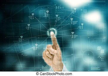 collegamento fili, concetto, internet, wifi