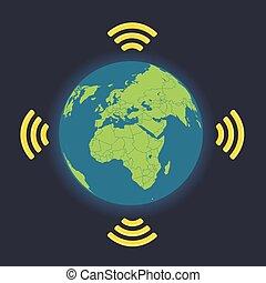 collegamento fili, globale, illustrazione