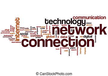 collegamento, parola, rete, nuvola