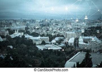 collegamento, particella, astratto, umano