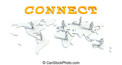 collegare, concetto, con, squadra affari