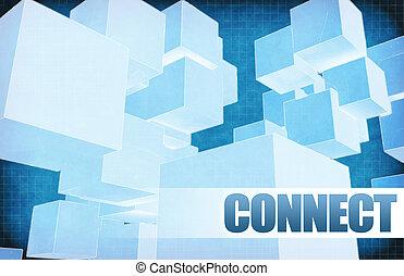 collegare, su, futuristico, astratto