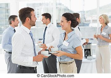 collega's, in, discussie, met, thee, c