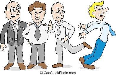 collega's, treiteren, -, bullebak, een ander