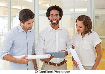 collega's, zakelijk, tablet, blauwdruken, digitale , gebruik
