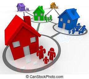 collegato, famiglia, in, vicinati