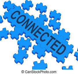 collegato, puzzle, esposizione, comunicazioni globali