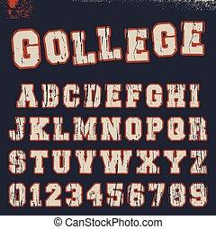 College alphabet font template
