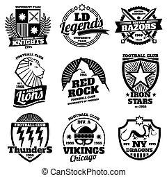College athletic labels, varsity emblems, vintage sports teams badges, university t shirt design vector set