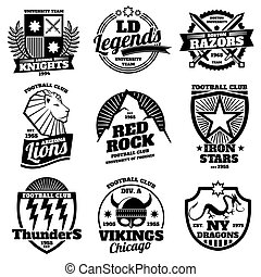 College athletic labels, varsity emblems, vintage sports teams badges, university t shirt design vector set